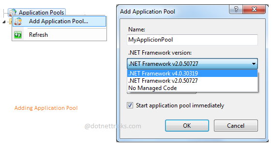 adding application pool in iis