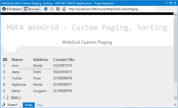 Webgrid With Custom Paging And Sorting In Asp Net Mvc